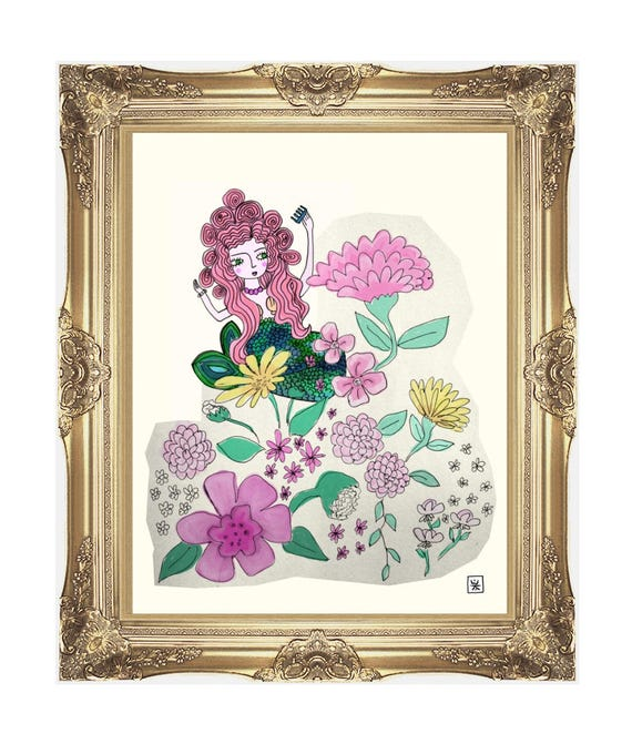 Mermaid in the Garden Giclee Art print