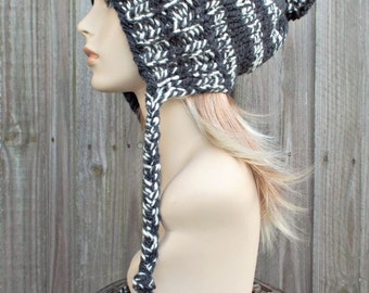 Cream and Charcoal Grey Slouchy Knit Hat Womens Hat - Charlotte Ear Flap Winter Beanie With Pom Pom - READY TO SHIP