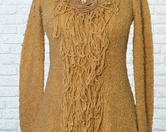 Fringed Sweater Medium Camel