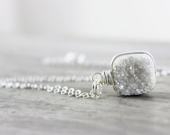 Druzy Gemstone Necklace, Sterling Silver Necklace, Wire Wrap Necklace, White Druzy Necklace, Wrapped Pendant Necklace, Bridal Necklace