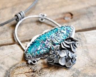 Glass Hydrangea Pendant / Teal Glass / Modern Jewelry