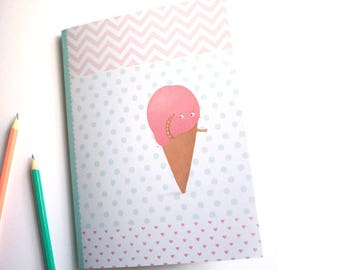 Cute ice cream cone - A5 handmade notebook made of recycled paper