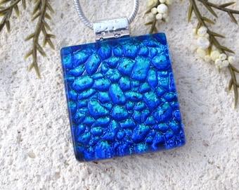 Petite Blue Necklace, Fused Pendant, Blue Pendant, Dichroic Necklace, Fused Glass Jewelry, Dichroic Jewelry, Silver Necklace, 103016p100