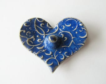 Blue Heart Ring Dish - Heart Shaped Ring Holder, Ring Dish, Ring Bowl, Indigo Glaze, Ready to ship