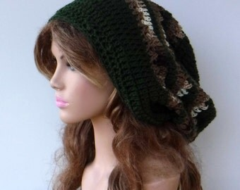 Olive Brown slouchy hat, longer snood Hippie Dreadlock dread Tam hat very slouchy beanie, green