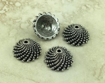 4 Extra Large Bubble Wave Ornate Bead Cap > Beaded Swirl Acorn Top Bali Style - American Made Lead Free Pewter Silver I ship Internationally