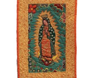 Virgin de Guadalupe Mexican Quilt Folk Art Wall Hanging