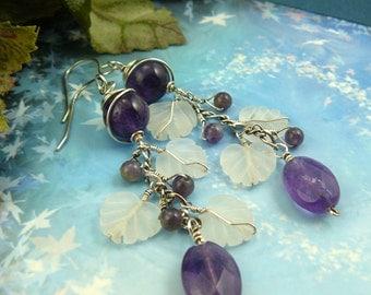Amethyst Earrings ~ Amethyst Chain Earrings ~ Long Amethyst Earrings ~ Glass Leaf Earrings ~ Amethyst Cascade Earrings ~ Purple Earrings