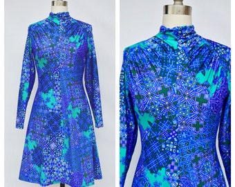 1960s abstract MOD twiggy print cocktail party dress / small