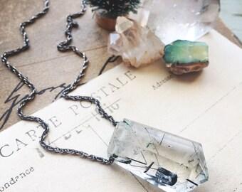 W a n d e r...Black tourmalinated quartz necklace, boho, Third eye chakra, Capricorn, balance, oxidized sterling silver FREE SHIPPING