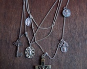 Protector in Chains / Antique Catholic Medals Layered Cross Necklace / Religious Jewelry / Cross Necklaces for women / Jewelry to Protect