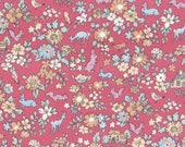 HALF YARD Lecien - Memoire a Paris 2017 - Forest Friends and Flowers on PINK 40742-20 - Cotton Lawn - Floral, Deer, Bunny - Japanese Import
