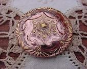 Metallic Peach Golden Celtic Pattern Czech Glass Button