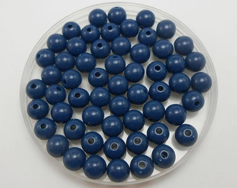 100 Navy Blue Acrylic Beads 8MM round (H2208)