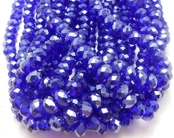 20 Blue AB Faceted Glass Rondelle Beads 8x6mm (H2250)