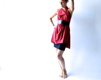 Tunic dress,  Red dress, Jersey dress, Draped dress, halter dress, Mini dress, Day dress, Plus size dress, Maternity clothes, womens dress