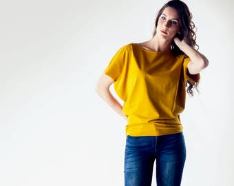 Yellow Top, Tshirt, Tunic top, Yoga top, Dolman top, Maternity clothes, Women top, Casual clothing, Batwing top, Blouse, Plus size tshirt