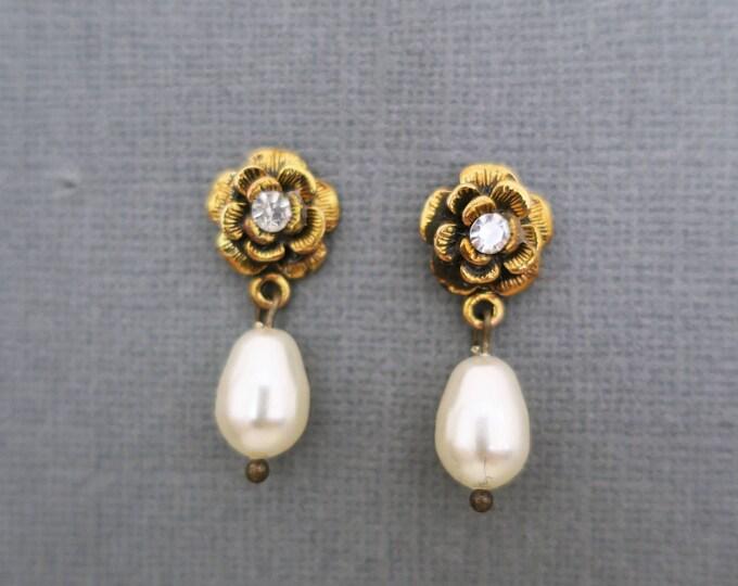 Gold Flower Earrings Dangle Bridesmaid Jewellery Pearl Drop