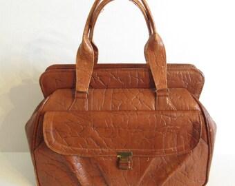 Vintage vinyl Dr. bag style travel bag, weekender bag, brown vinyl, faux leather, plaid interior