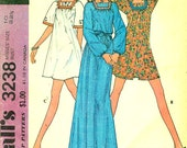McCall's 3238 PULLOVER  MINI DRESS and Smock ©1972 Size 10 Maxi Length