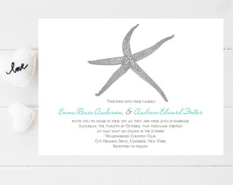 Beach Wedding Invitations   Starfish, Beachy Wedding Invitation   Wedding  Invitation   Beach Wedding Invitation