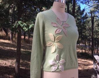 Cashmere Appliquéd Sweater Size Medium Up cycled Cashmere Eco Fashion