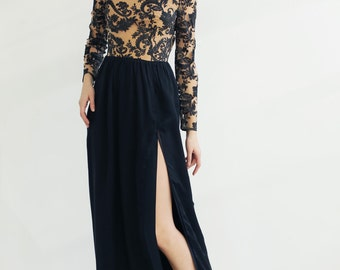 Sample SALE  black fine silk chiffon and lace long sleeve dress