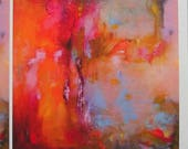 Orange abstract fine art print from oil painting, warm rich opulent colours, 9 x 8 inches approx on A4