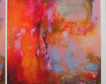 Orange pink gold blue abstract fine art print from oil painting, warm rich opulent colours, A6 to A3 size