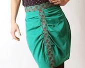 Green pencil skirt, Emerald green skirt, High waisted green skirt, Womens green pleated skirt, Womens clothing, Womens skirts, MALAM