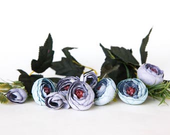 9 Small Mini Vintage Inspired Ranunculus Buds in Antique Purple and Blue plus foliage- silk artificial flower, millinery flower - ITEM 01125