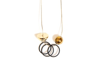 NEW Gold Plated Minimalist Necklace. Stone Jewelry. Delicate Necklace. Geometric Gold Necklace. Bar Necklace. Spheres and Cubes — 015