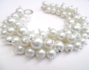 White Pearl Beaded Bracelet, Bridal Bracelet, Bridal Jewelry, Wedding, Pearl Bridesmaid Bracelet, Cluster Bracelet, White Pearl Jewelry