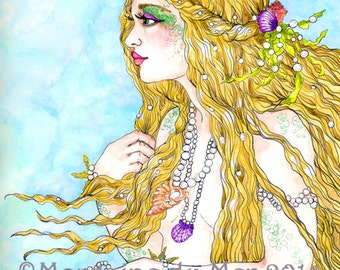 Blonde Mermaid Adorned with Shells and Pearls Fantasy Fine Art Print Profile Pose Pen and Ink Watercolour Illustration Giclee