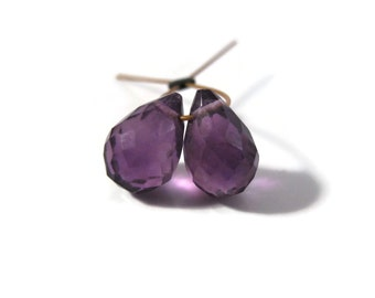 2 Purple Amethyst Briolette Beads, Two Faceted Teardrops, Matched Pair of Stones, 8mm x 5mm - 10mm x 6mm (Pt-Am1)