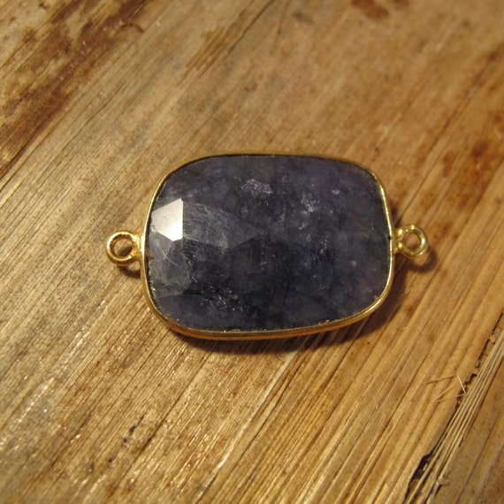Sapphire Pendant, One Gold Plated Irregular Bezel Pendant, 28mm x 17mm, Double Sided, Blue Gemstone Charm for Making Jewelry (C-Sa1a2)