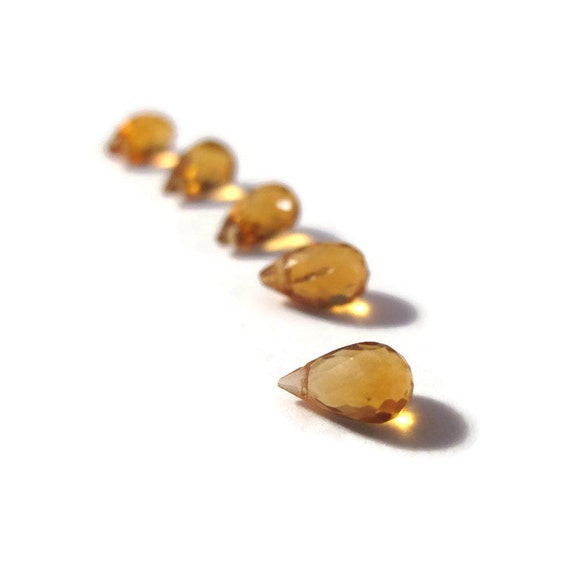 Five Little Citrine Beads, 5 Tiny Faceted Briolettes, 5mm x 3mm - 8mm x 5mm Gemstones for Making Jewelry (B-Ci1c)