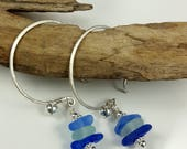 Sea Glass Earrings Cobalt Blue Sea Glass Sterling Silver Earrings Beach Glass E-207