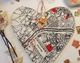 Eiffel Tower Amour - Wire Heart with Vintage French Map Fabric for Valentine's Day, Wedding, and Home Decor