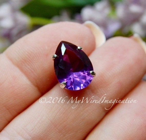 Alexandrite, Color Change, Lab-Grown, Lab-Created Faceted Gemstone, 10x14mm Pear with SP Sew On Setting, Jewelry Supply June Birthstone