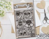 JessicaLynnOriginal Clear Stamps 4x6 Pug Stamp Set Brand New Ready to Ship - Dog Stamps DogStamp Puggy