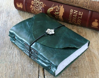 """Leather Journal . Louisa May Alcott: """"She is too fond of books and it has turned her brain."""" handbound handmade . dark teal (320p)"""