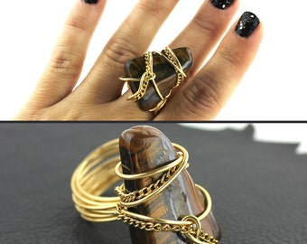 Tigers Eye Ring that Rocks size 12