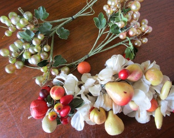 3 Fruit Millinery Hat Trims Pearl Grapes Berries Wired Plastic Vintage 1950s Silk Flowers