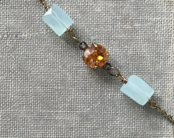 Topaz rhinestone and light blue gemstone choker,short necklace,layering necklace. Tiedupmemories