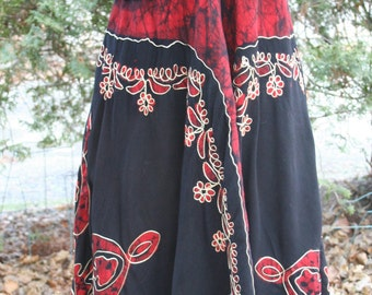 Black and red halter dress embroidered India rayon free size jagged hem