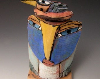 "Owl art, sculpture, handmade ceramic owl art,""Owl Person and Nesting Blue Bird. Love is All, 5-1/2"" tall"