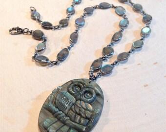 Labradorite Night Owl Necklace