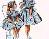 1950s Girls Designer Helen Lee Dress, Babushka Headscarf and Petticoat McCalls 4464 Vintage 50s Childrens Sewing Pattern Size 4