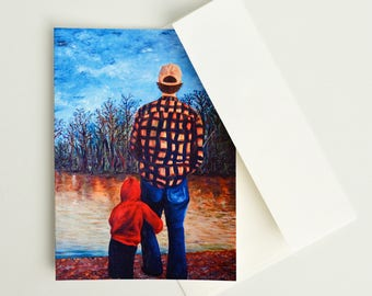 Fathers's Day Card - Fishing with Dad, Fathers Day Cards, Gifts for Dad, Greeting Card, Blank Greeting Cards, Art Cards, Me and Dad Fishing